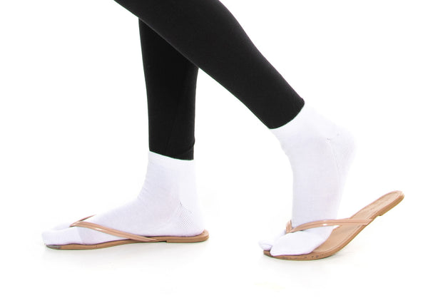 Thicker V-Toe Athletic or Casual White Flip-Flop Tabi Socks Cotton Blend Comfortable Stylish - Ankle Socks