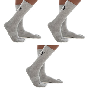 3 Pairs Athletic - Light Gray Solid V-Toe Flip Flop Tabi Big Toe Socks Cotton Blend Style