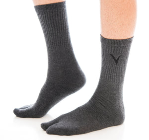 V-Toe Athletic Flip-Flop Tabi Big Toe Crew Socks - Gunmetal Grey