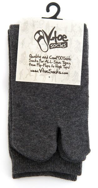 1 Pair - V-Toe Flip Flop Tabi Socks - Grey Solid