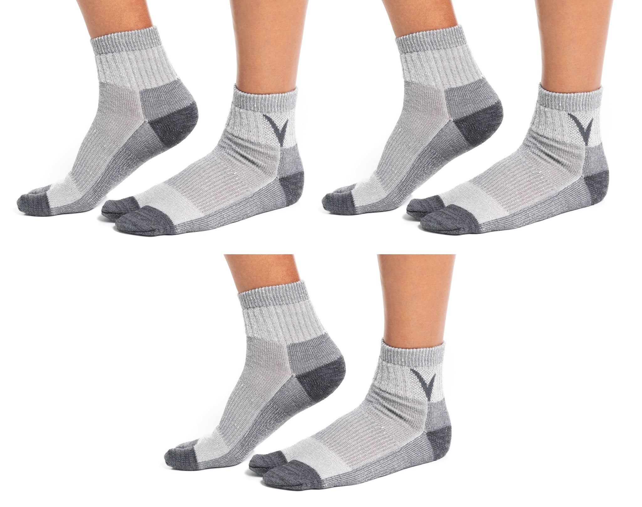 3 Pairs Light Grey Wool For Hiking Or Casual Flip-Flop VToe Tabi Socks
