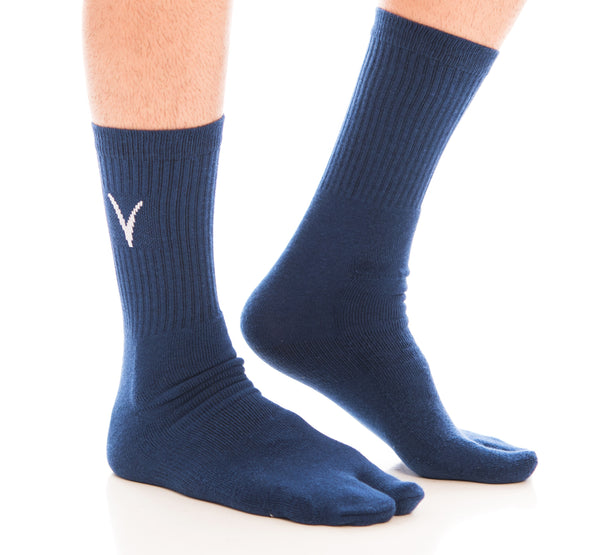 V-Toe Athletic Flip-Flop Tabi Big Toe Crew Socks - Navy Blue