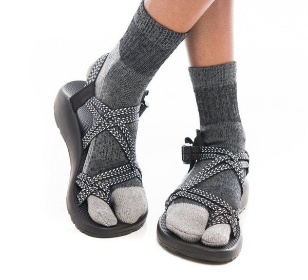 V-Toe Dark Grey Wool Casual or Hiking V-Toe Flip-Flop Tabi Big Toe Chaco Socks