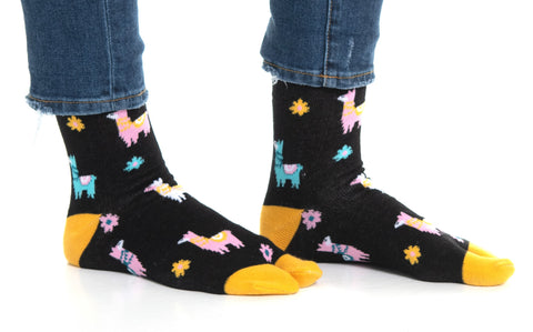 1 Pair - V-Toe Flip Flop Tabi Socks - Black Llamas