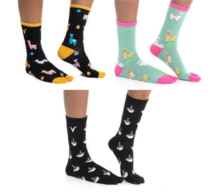3 Pairs - V-Toe Flip Flop Tabi Big Toe Socks Llama Black, Llama Green, Coffee Cups