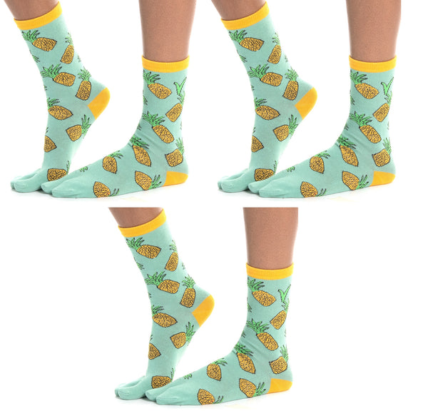 3 Pairs - V-Toe Flip Flop Tabi Socks Combo Discount - Pineapple