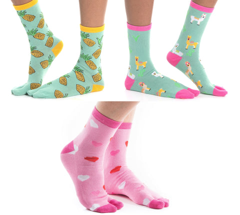 V-Toe Flip-Flop Tabi Socks 3 Pairs Pineapple, Llama Green, Hearts Tabi Big Toe Socks