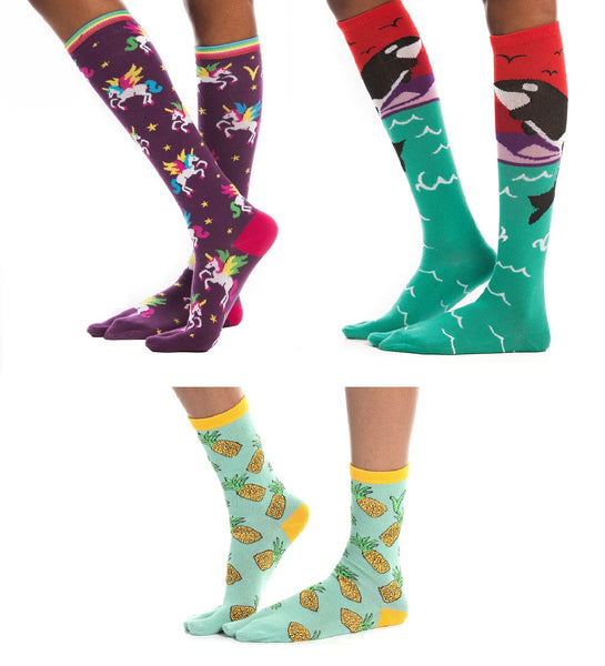 3 Pairs - Orca and Unicorn Over The Calf, Pineapple Crew Flip-Flop V-Toe Tabi Socks