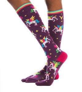 1 Pair - V-Toe Flip-Flop Tabi Socks - Fun Unicorn Style