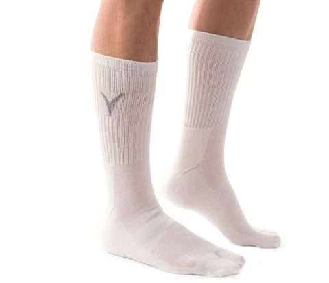 V-Toe Athletic Flip-Flop Tabi Big Toe Crew Socks - Bleach White