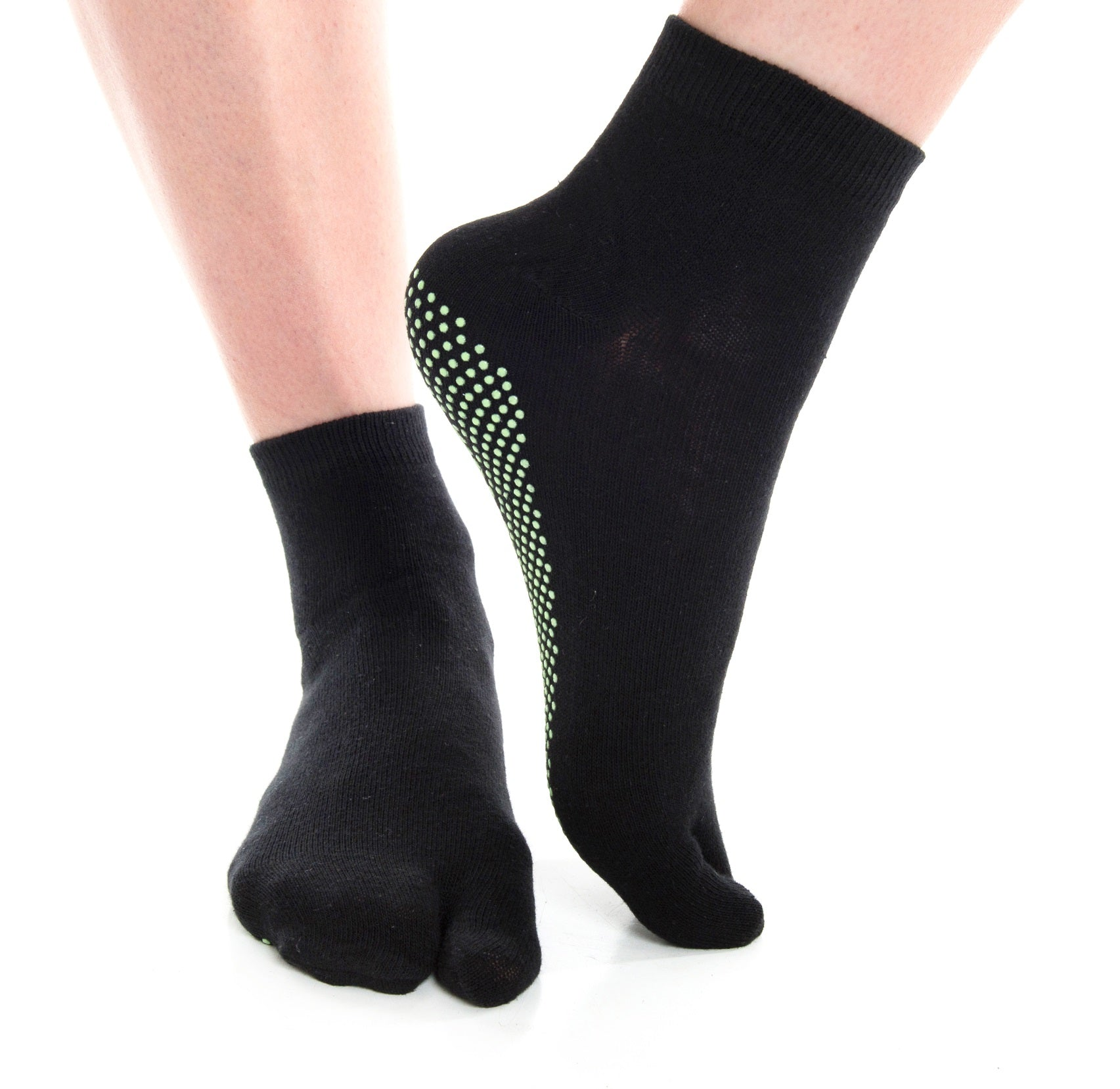 V-Toe Flip Flop Socks Casual Nonskid Socks - Black Solid Big Toe Tabi Socks