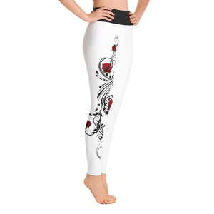 Crazy for Roses Yoga Leggings White