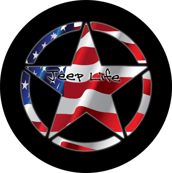 Jeep Life spare tire cover featuring a Jeep star inset with a wavy american flag