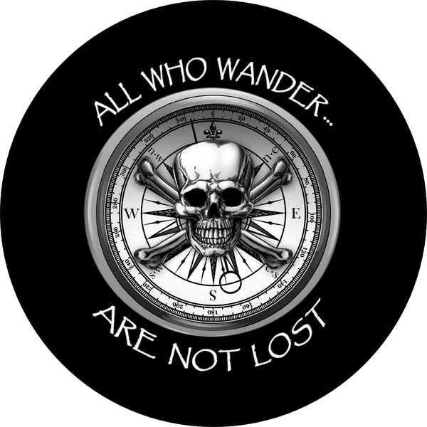 All who wander are not lost spare tire cover with skull compass.