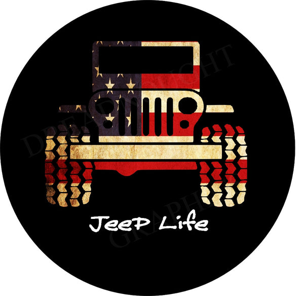 Jeep life vintage flag spare tire cover