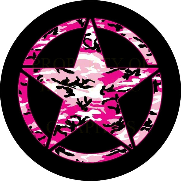 Pink Camo Jeep Star Spare Tire Cover
