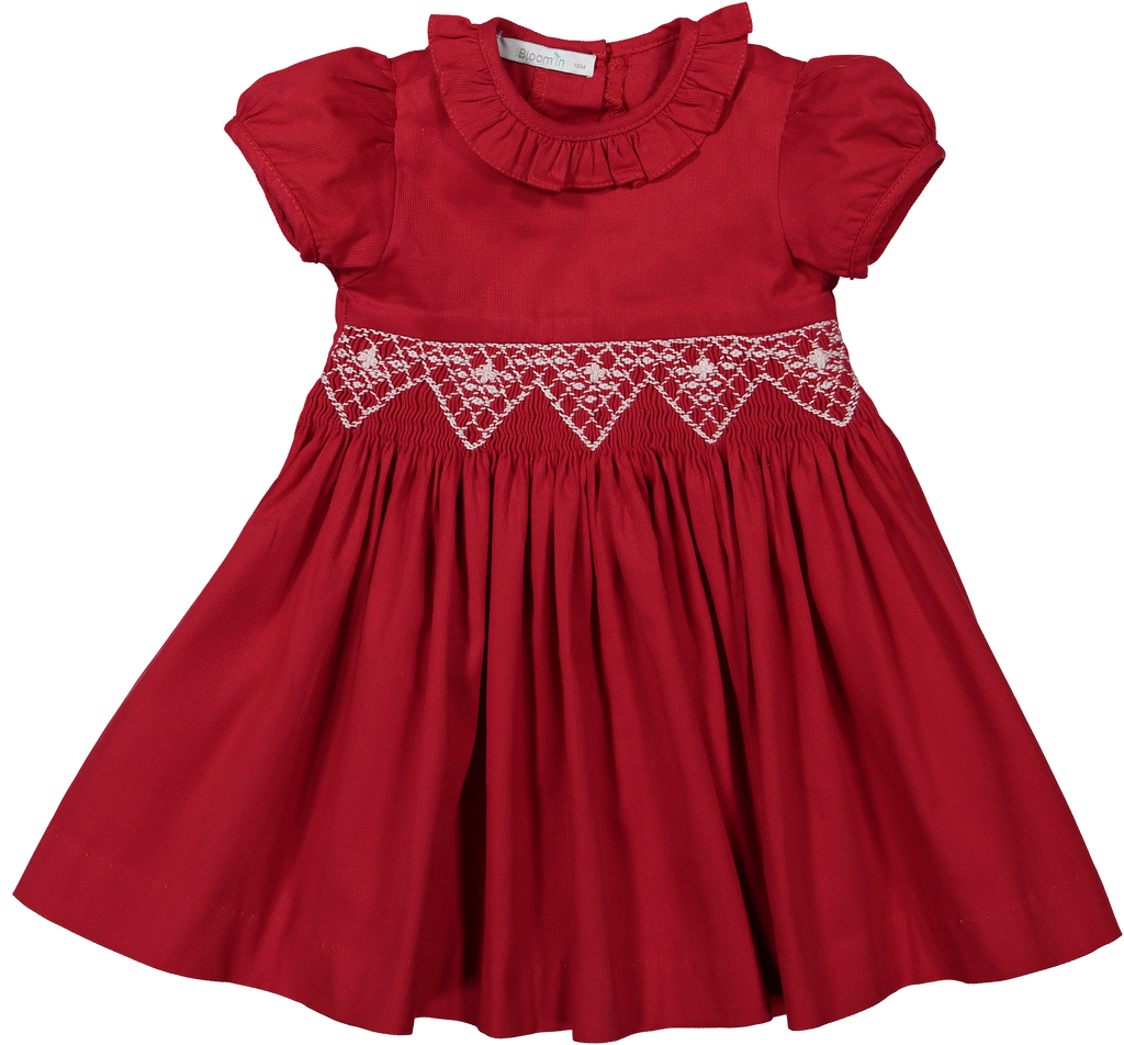 Vestido De Natal com Barra Bordada a Smock  - HandSmocked Christmas Dress