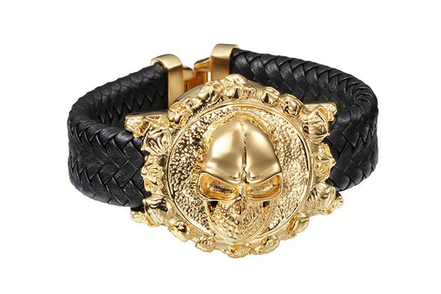 Skull Wrap Bracelet Gold Color Stainless Steel - Maspormenos sales