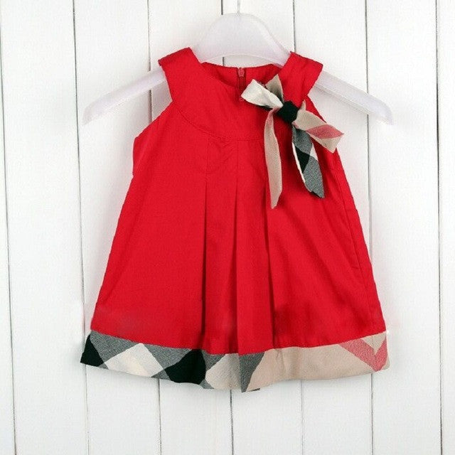 Amazing Baby Girl Dress Bow Decoration Cotton