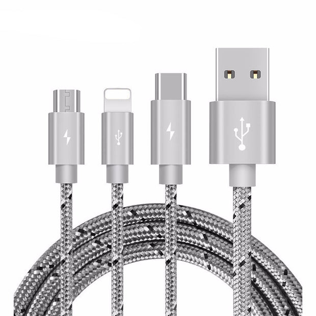 3 in 1 Charge Cable Micro USB Type C Charger - Maspormenos sales