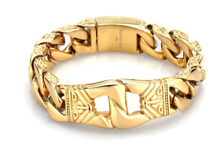 Cuban Miami Style Men's  Bracelet Stainless Steel Gold - Maspormenos sales