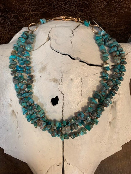 J Forks, Three Strand Turquoise Necklace