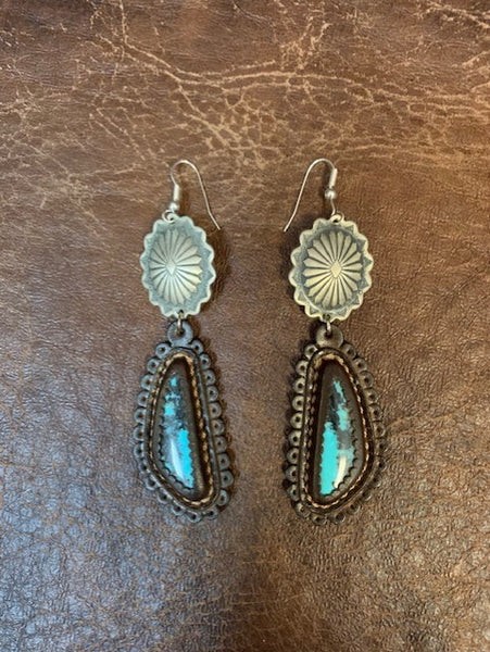 J Forks, Turquoise & Leather Earrings