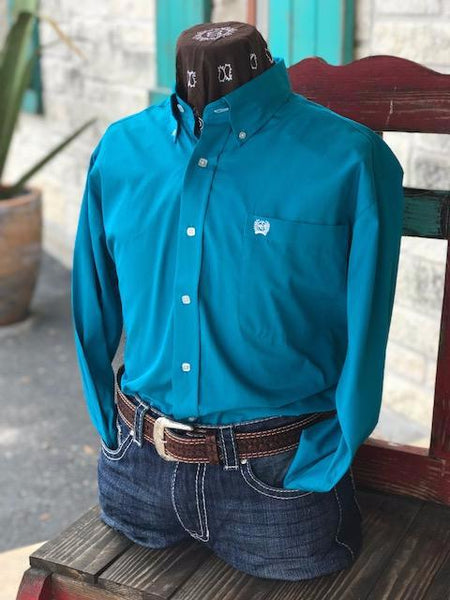 Cinch Men's Western Shirt. Turquoise, Button Down, Single Pocket. Front View