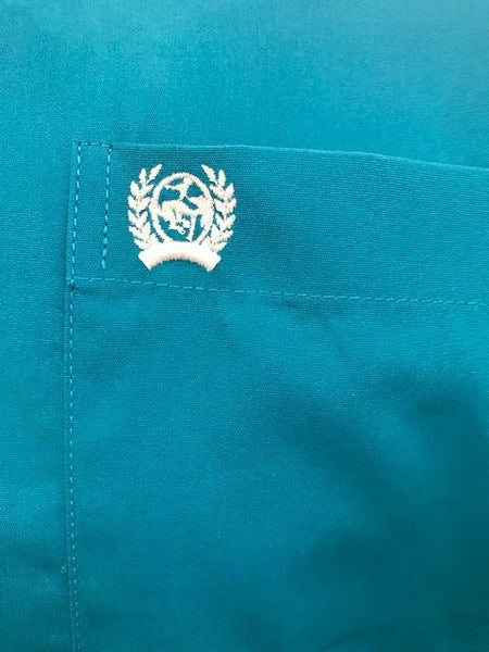 Cinch Men's Turquoise Western Shirt Pocket Close Up