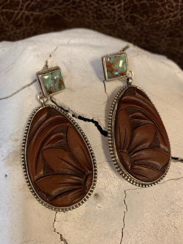 J Forks, Kingman Turquoise & Tooled leather Earrings