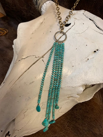 J Forks, Kingman Turquoise Cascade Necklace