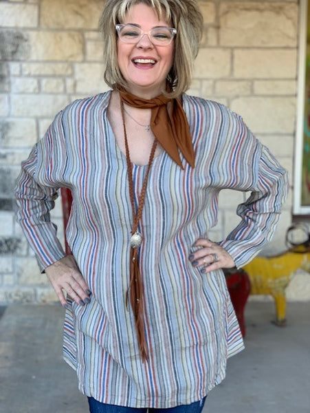 Cousin Earl, Ladies Multi Striped, Linen Tunic. Close Up