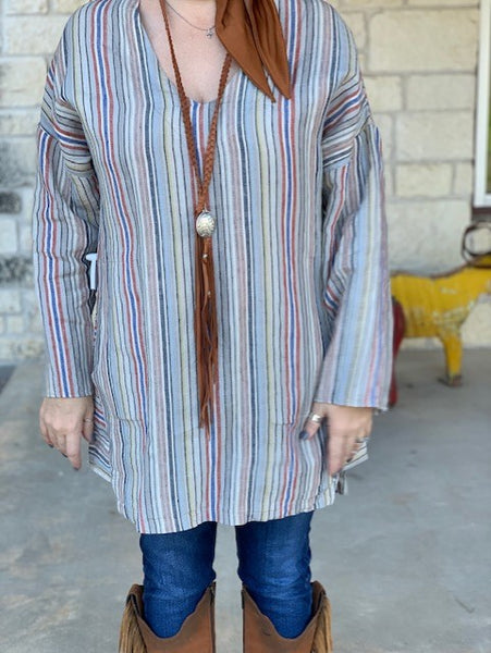 Cousin Earl, Ladies Multi Striped, Linen Tunic. Front View