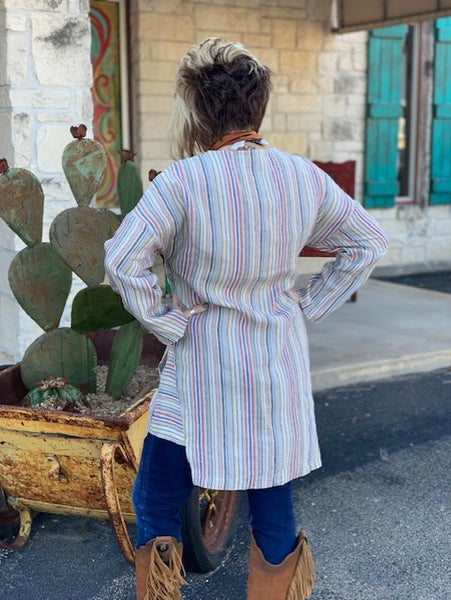 Cousin Earl, Ladies Multi Striped, Linen Tunic. Back View