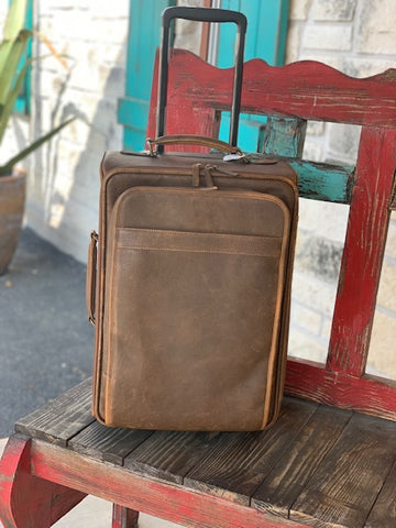 Scully, Leather Rolling Carry On Case