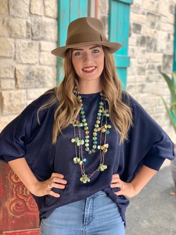 Ivy Jane Ladies Tunic Top, Navy Blue-A63005B