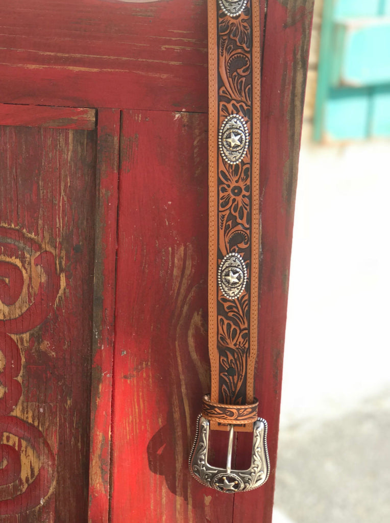 Men's Western Tooled Leather Belt with Star Concho - Blair's Western Wear Marble Falls, TX