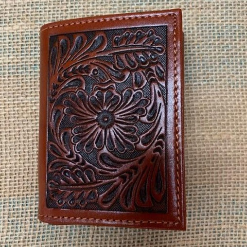 Tooled Leather Trifold Wallet-C42T