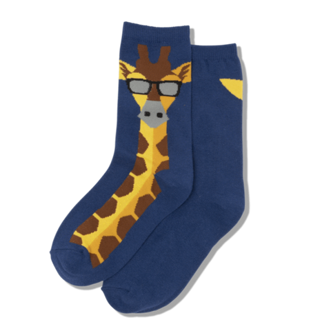 Kids Blue Sock with Giraffe - HSK00002 - Blair's Western Wear Marble Falls, TX