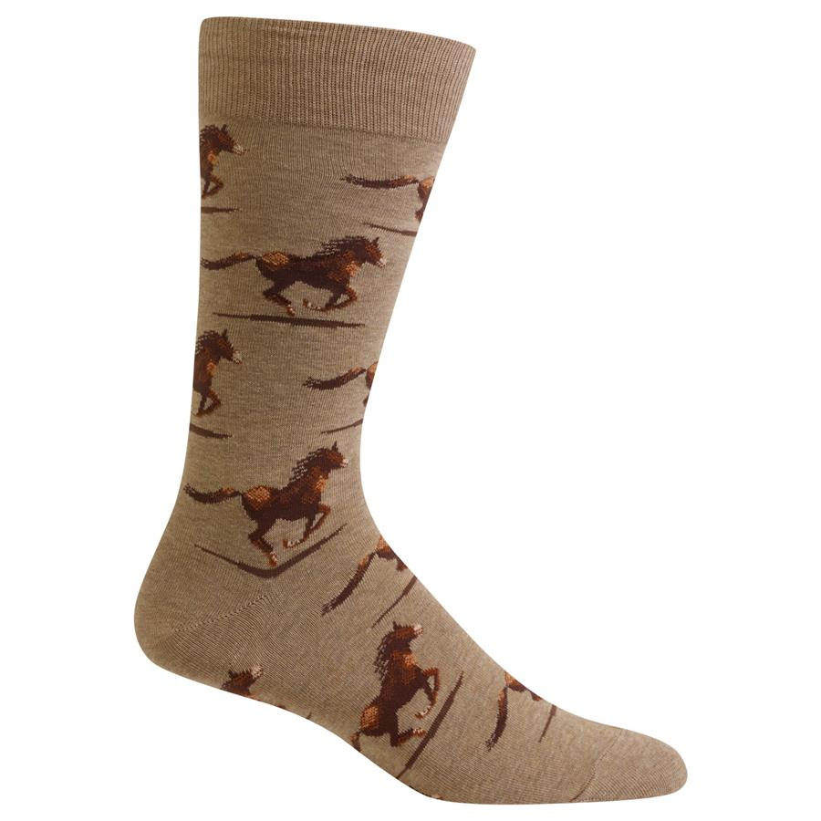 Crazy Fun Cowboy Western Tan Horse Men's Socks - HM100586