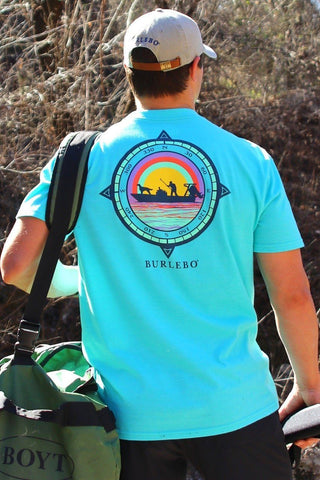 Burlebo men's compass duck hunt t-shirt. Turquoise/ Multi colored. Back of shirt shown in photo.