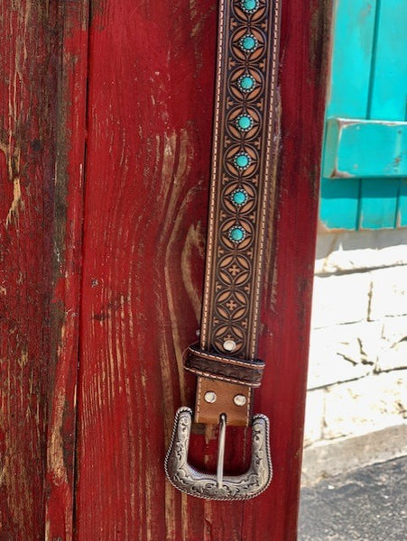 Men's Western Brown Tooled Belt w/ Turquoise Stones - N210000008 - Blair's Western Wear Marble Falls, TX