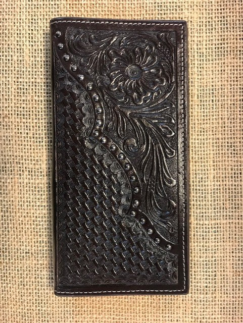 Men's Western Chocolate Tooled Checkbook Wallet - Blair's Western Wear Marble Falls, TX