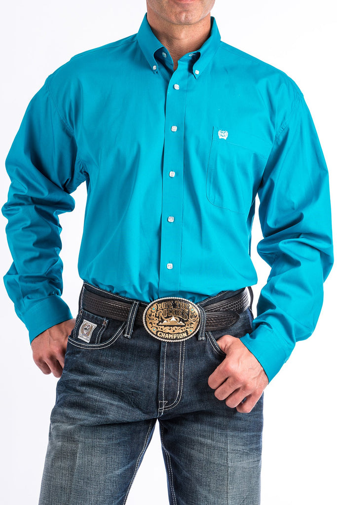 Model Is Wearing Cinch Men's Turquoise Western Shirt.