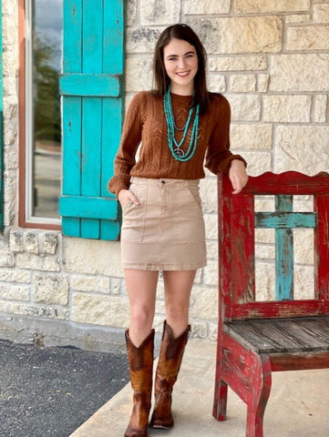 Tan mini skirt - Blair's Western Wear Marble Falls, TX