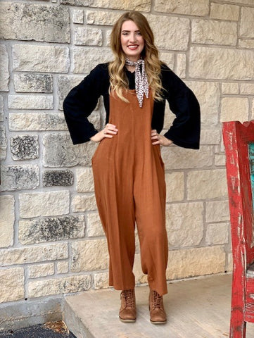 Ladies Camel Wide Leg Cropped Flood Overalls - R2067t