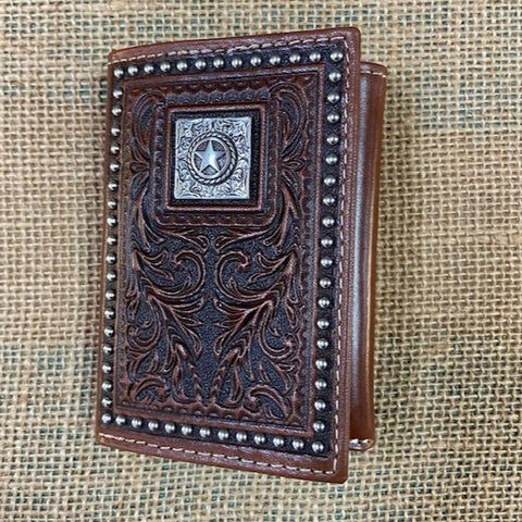 Men's Western Chocolate Leather Tooled Concho Star Trifold Wallet - Blair's Western Wear Marble Falls, TX