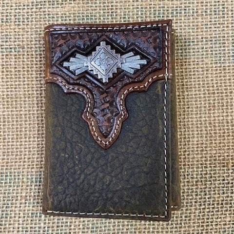 Men's Western Leather Aztec Concho Trifold Wallet - Blair's Western Wear Marble Falls, TX