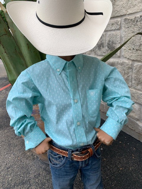 mint & white cactus shirt - Blair's Western Wear Marble Falls, TX