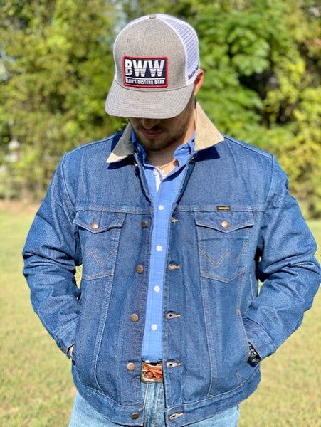 Denim Jacket with tan corduroy - Blair's Western Wear Marble Falls, TX
